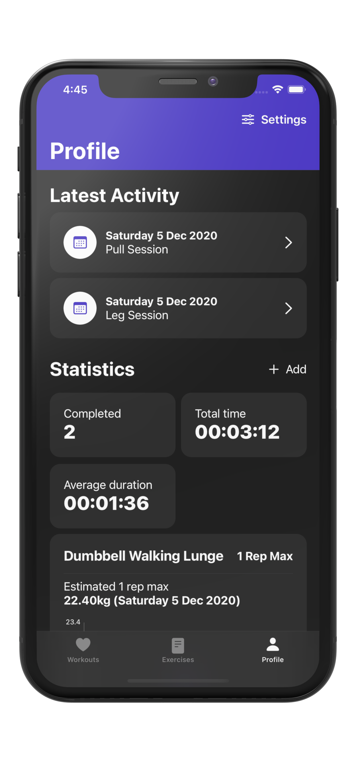 picture of workout plan bot workout tracking statistics screen within iOS Device.